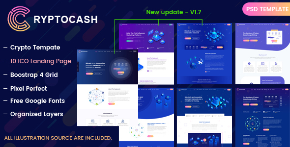 Cryptocash – ICO Cryptocurrency & ICO Landing Page PSD Template - Technology PSD Templates
