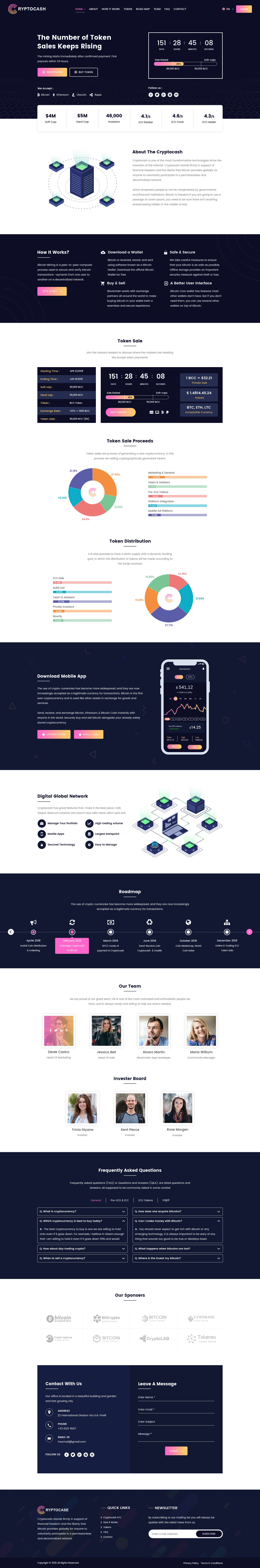 Cryptocurrency and ico landing page light pro