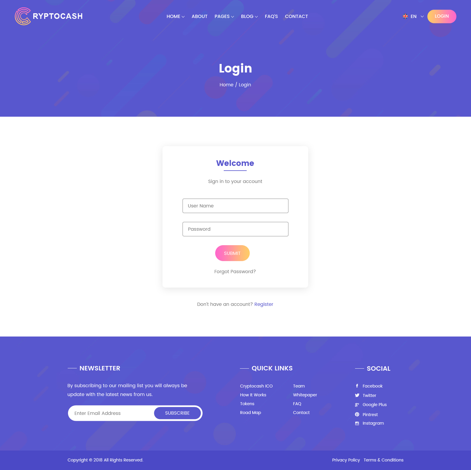 Cryptocash Ico Cryptocurrency Ico Landing Page Psd Template By