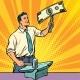 Businessman Blacksmith Forges Dollars Money - GraphicRiver Item for Sale