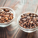 Bowls of arabica and robusta coffee beans - PhotoDune Item for Sale
