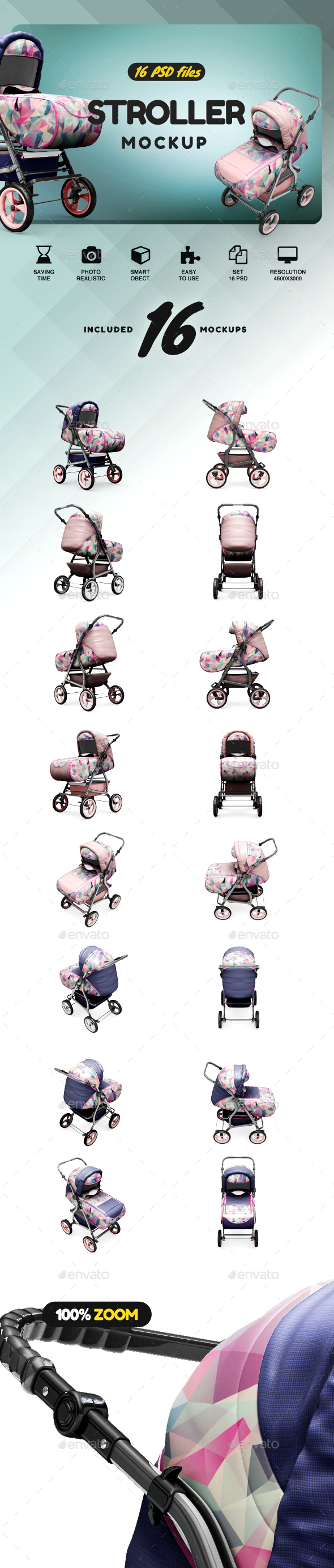 Stroller Mockup - Product Mock-Ups Graphics