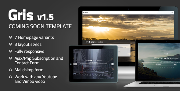 Gris - Creative Coming Soon Template - Under Construction Specialty Pages