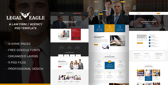 Legal Eagle -  Attorneys, Lawyers, Legal Firm Agency PSD Template - Business Corporate