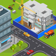 Urban Construction Isometric Composition