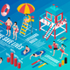 Beach Lifeguards Isometric Infographics - GraphicRiver Item for Sale