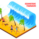 Tsunami Isometric Illustration