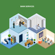 Bank Services Isometric Background