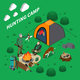 Hunting Camp Isometric Composition - GraphicRiver Item for Sale