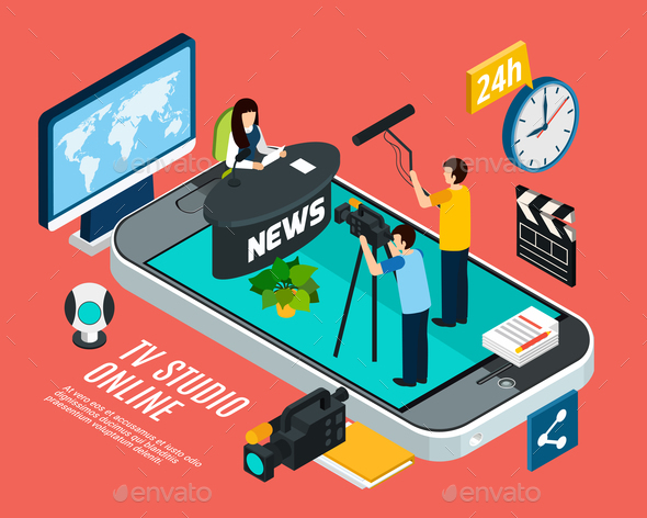 Online Television News Background - Industries Business