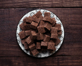 brown sugar powdered and cubed, on rustic wood - PhotoDune Item for Sale