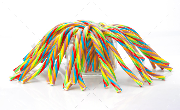 soft sticks tangle colored licorice - Stock Photo - Images