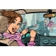 Joyful Woman Driver Accident on Road  - GraphicRiver Item for Sale