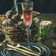 Christmas, New Year holiday table setting with glass of champagne - PhotoDune Item for Sale