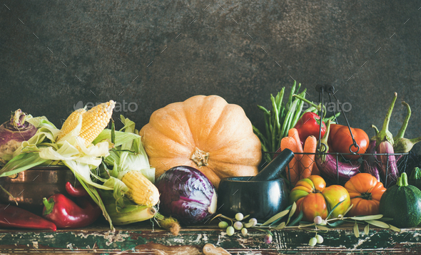 Assortment of various Autumn vegetables from local market, copy space - Stock Photo - Images