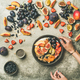Greek yogurt, fresh fruit and chia seeds bowl, top view - PhotoDune Item for Sale
