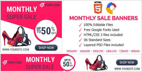 Monthly Super Sale Animated HTML5 Banner Ads (GWD)            Nulled