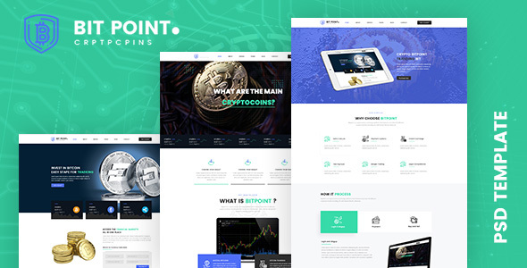 BitPoint- Crypto Currency PSD Template - PSD Templates