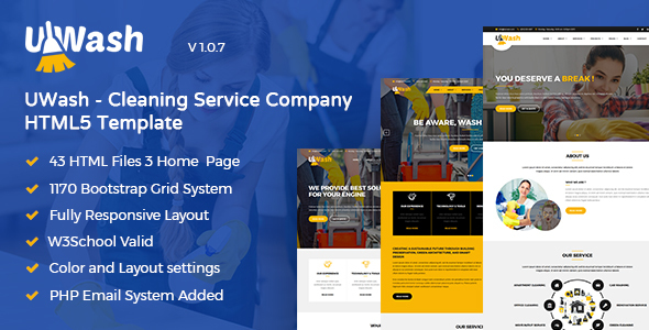 Uwash - Cleaning Service Company HTML5 Template - Business Corporate