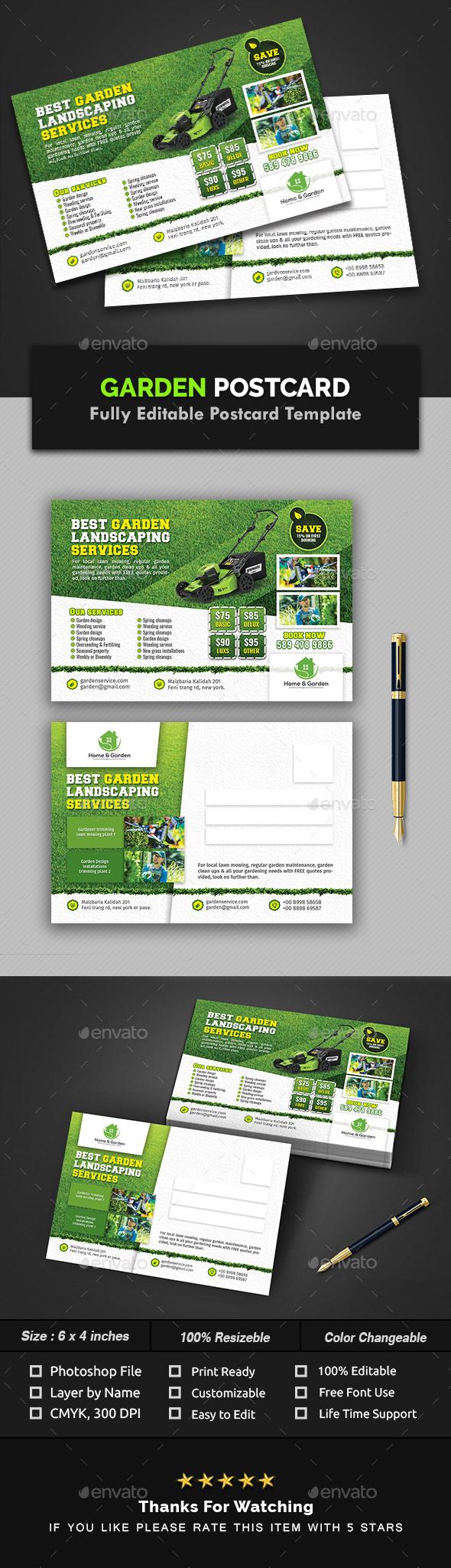 Garden Landscape Postcard Template - Cards & Invites Print Templates