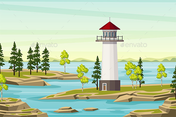 Summer Landsape With Lighthouse - Landscapes Nature