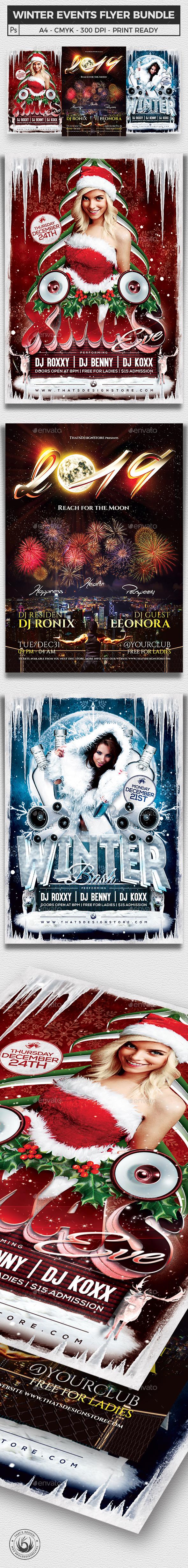 Winter Events Flyer Bundle V1 - Clubs & Parties Events