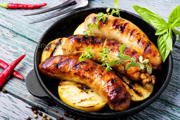 Tasty grilled pork sausages - Stock Photo - Images