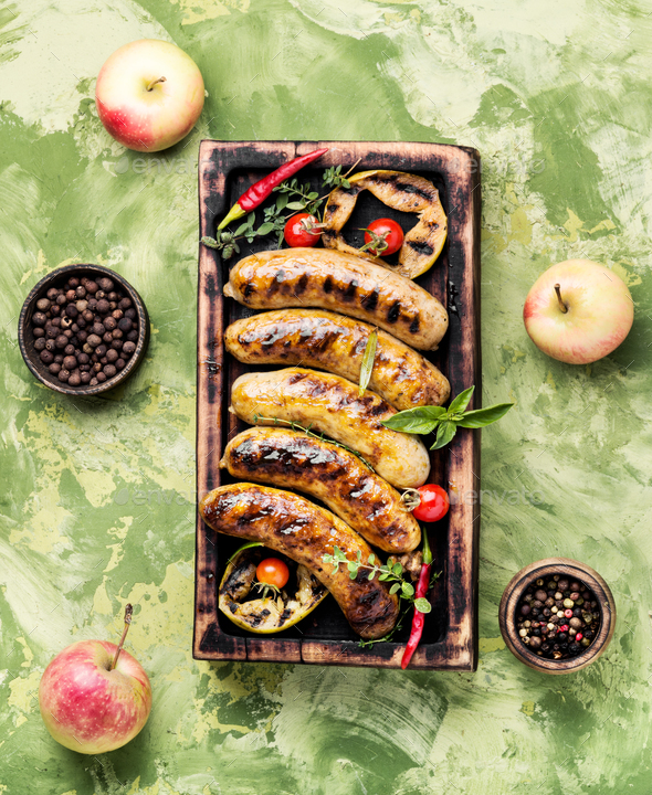 Tasty grilled pork sausages - Stock Photo - Images
