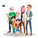 Family Portrait Vector. Big Happy Family