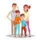 Family Portrait Vector. Parents, Children. Happy