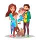 Family Vector. Dad, Mother, Kids. Happy. Portrait