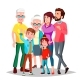 Family Vector. Cheerful. Mom, Dad, Children