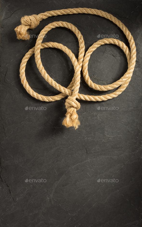 ship rope on slate stone - Stock Photo - Images