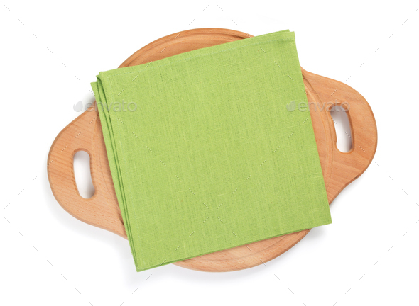 napkin at cutting board isolated on white - Stock Photo - Images