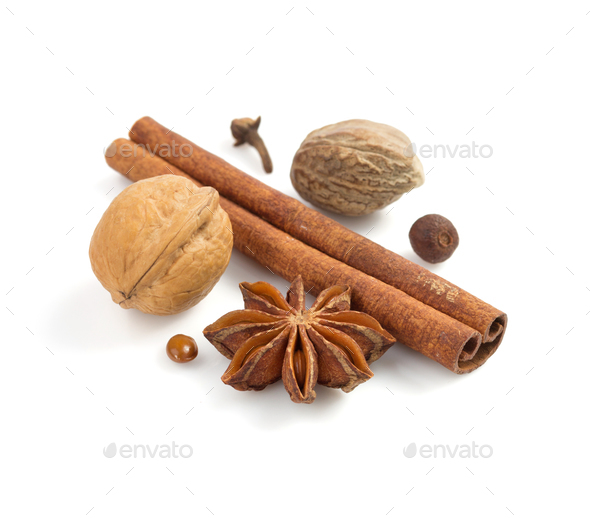 spices on white background - Stock Photo - Images