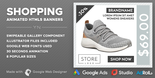 Shopping HTML5 Banners (GWD Swipeable Gallery)            Nulled