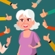 Thumbs Up Old Woman Vector. Public Approval. A Lot - GraphicRiver Item for Sale