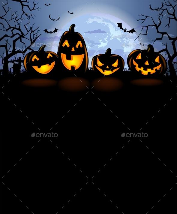 Halloween Background with Scary Pumpkins - Halloween Seasons/Holidays