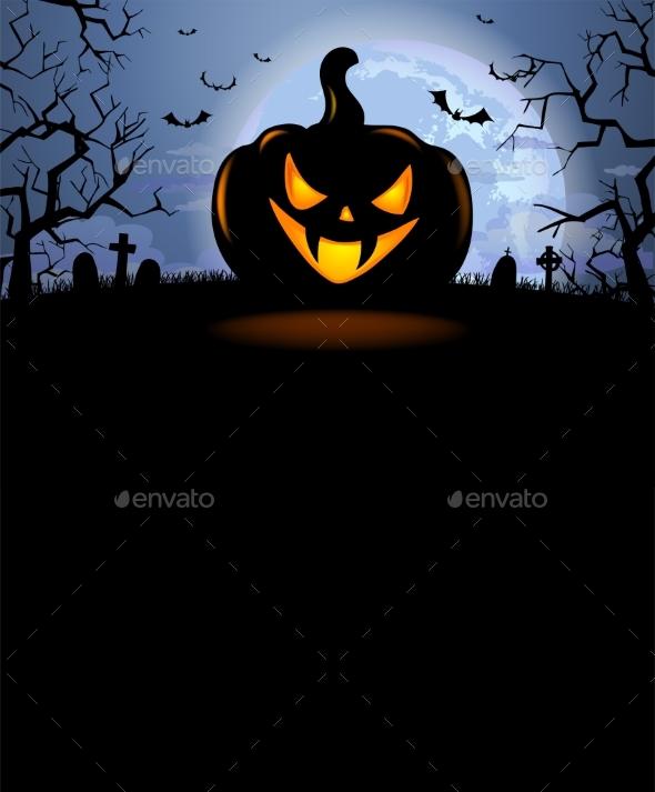Halloween Background with Scary Pumpkin - Halloween Seasons/Holidays