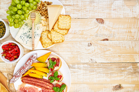 Italian antipasti wine snacks set. Antipasto catering platter - Stock Photo - Images