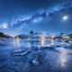 Milky Way above frozen sea coast, snow covered mountains - PhotoDune Item for Sale