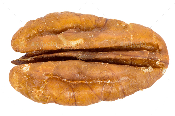 Close-up of pecan nut isolated on white background - Stock Photo - Images