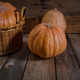Thanksgiving. Pumpkins on rustic wooden background, copy space - PhotoDune Item for Sale