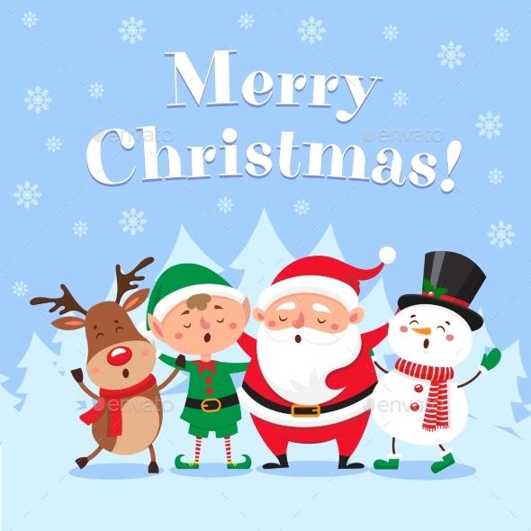 Cute christmas greeting card singing santa claus by tartila cute christmas greeting card singing santa claus seasonsholidays conceptual m4hsunfo