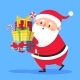 Santa Claus Carry Gifts Stack. Christmas Gift Box - GraphicRiver Item for Sale
