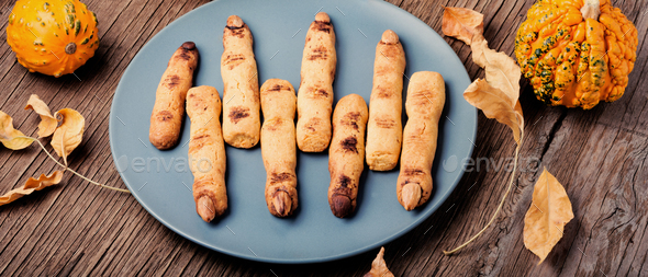 Halloween cookies like fingers - Stock Photo - Images