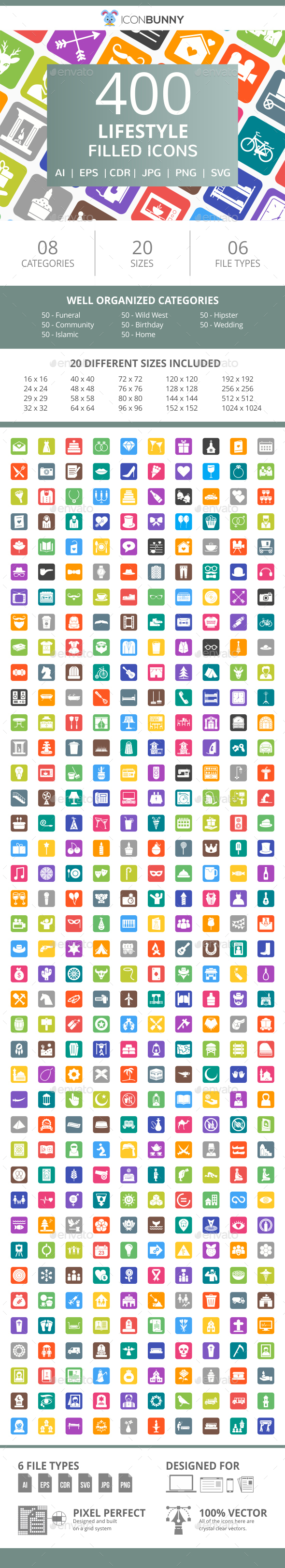 400 Lifestyle Filled Round Corner Icons - Icons