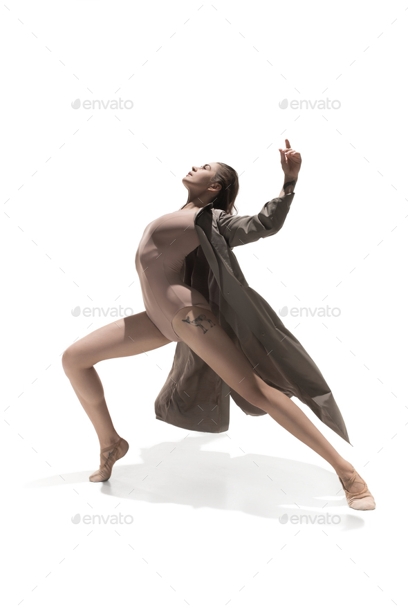 Beautiful slim young female modern jazz contemporary style ballet dancer - Stock Photo - Images