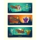 Halloween Party Vector Cartoon Invitation Banners