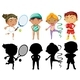 Kids Doing Different Sports Set With Silhouette - GraphicRiver Item for Sale